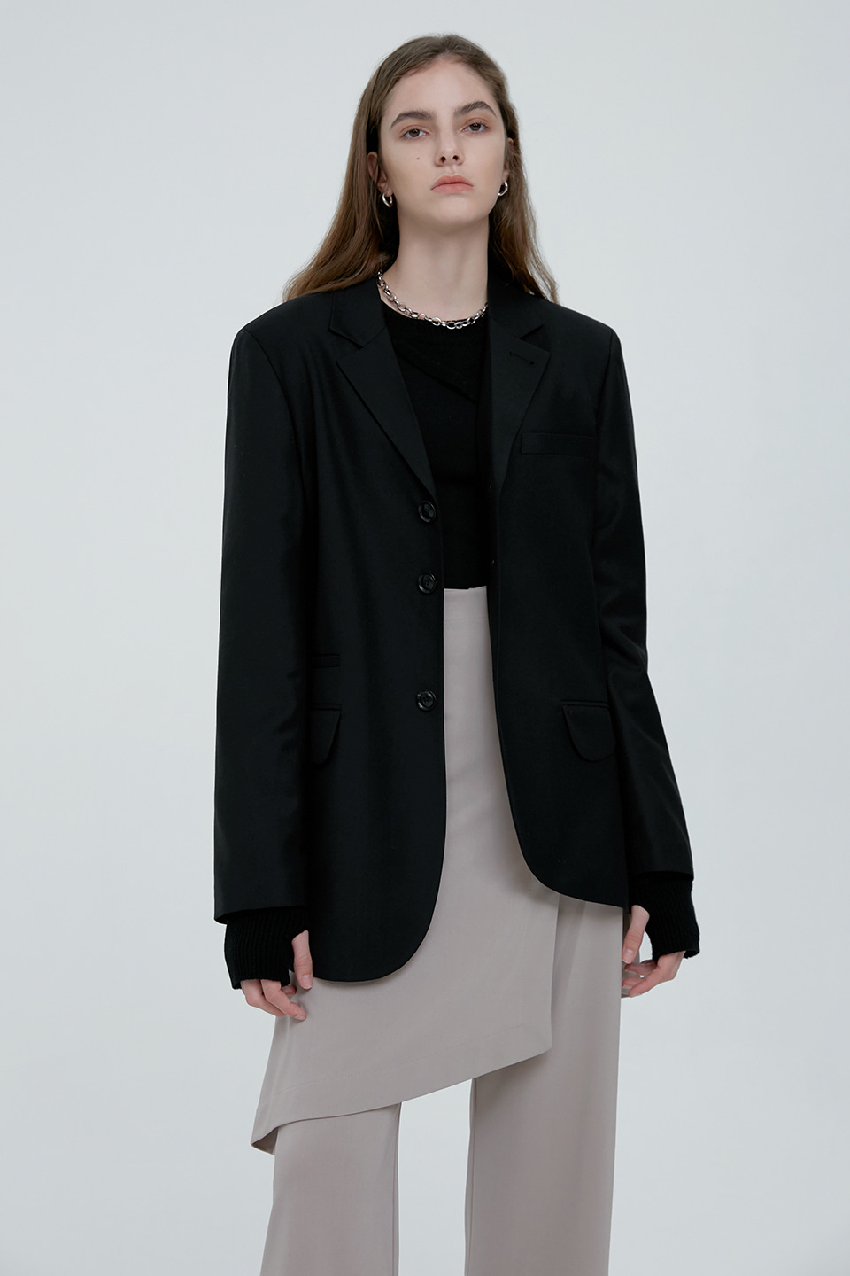 [UNISEX] SIGNATURE WOOL TAILORED BLAZER - BLACK