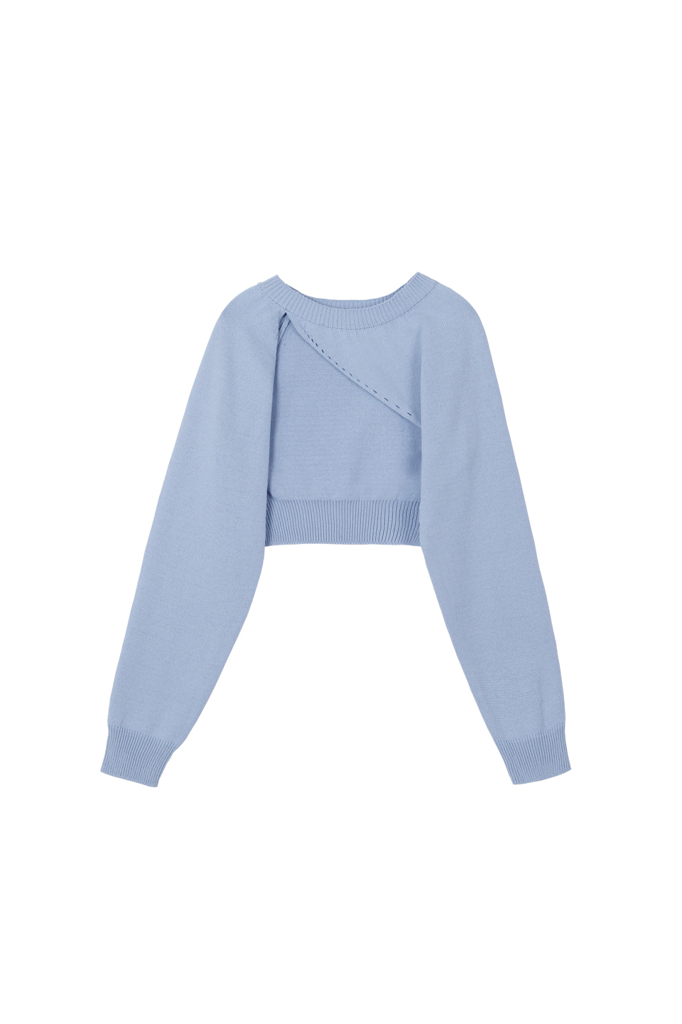 (3차재입고) SS UNBALANCE BOLERO KNIT TOP - SKY BLUE
