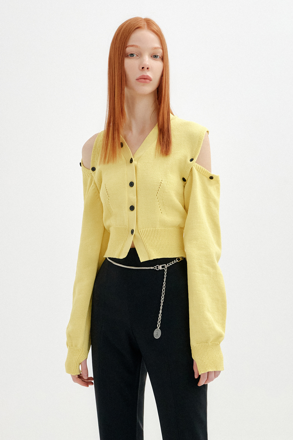 (재입고) UNBALANCE SHOULDER CUT CROP KNIT CARDIGAN - LIGHT YELLOW (4/27일 예약배송)