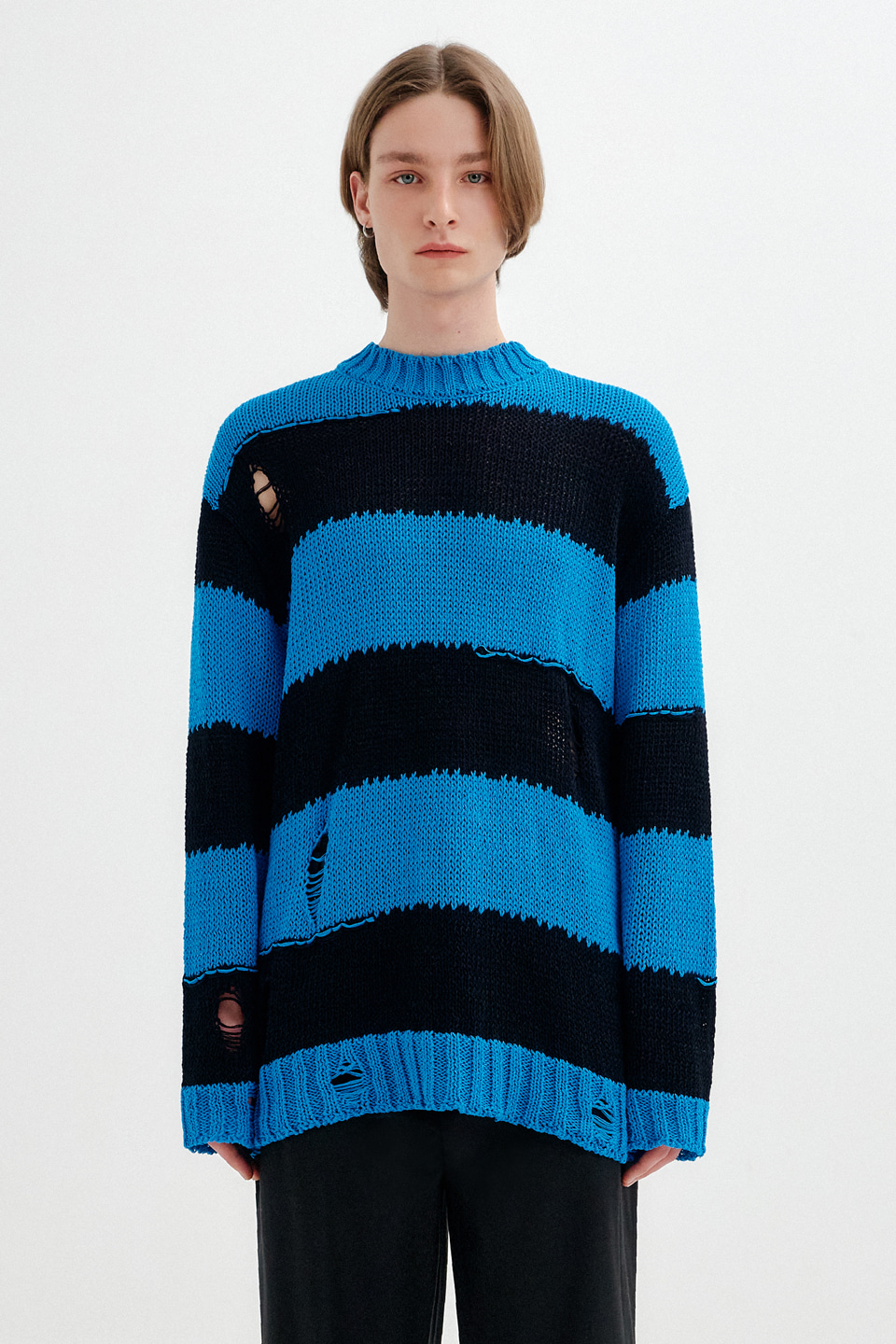 [UNISEX] VINTAGE CUT STRIPE KNIT TOP - BLUE