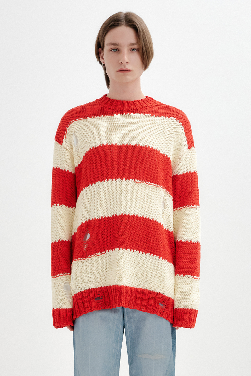 [UNISEX] VINTAGE CUT STRIPE KNIT TOP - RED