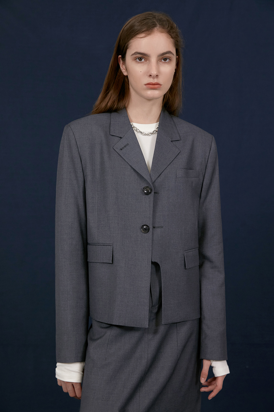 [UNISEX] LINE CUT SHORT WOOL BLAZER - GREY