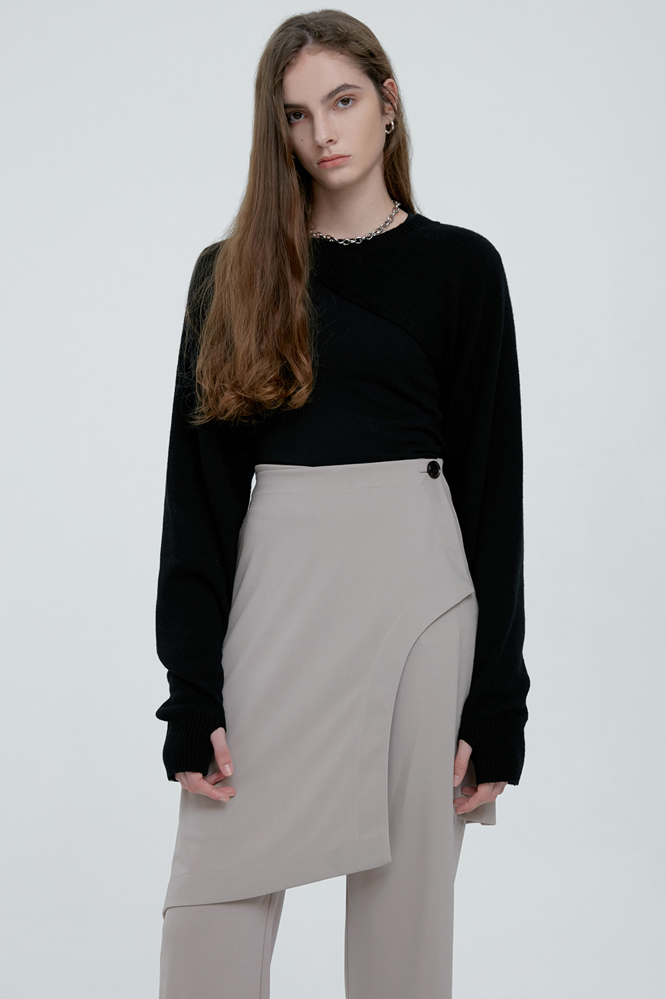 (7차재입고) UNBALANCE BOLERO KNIT TOP - BLACK