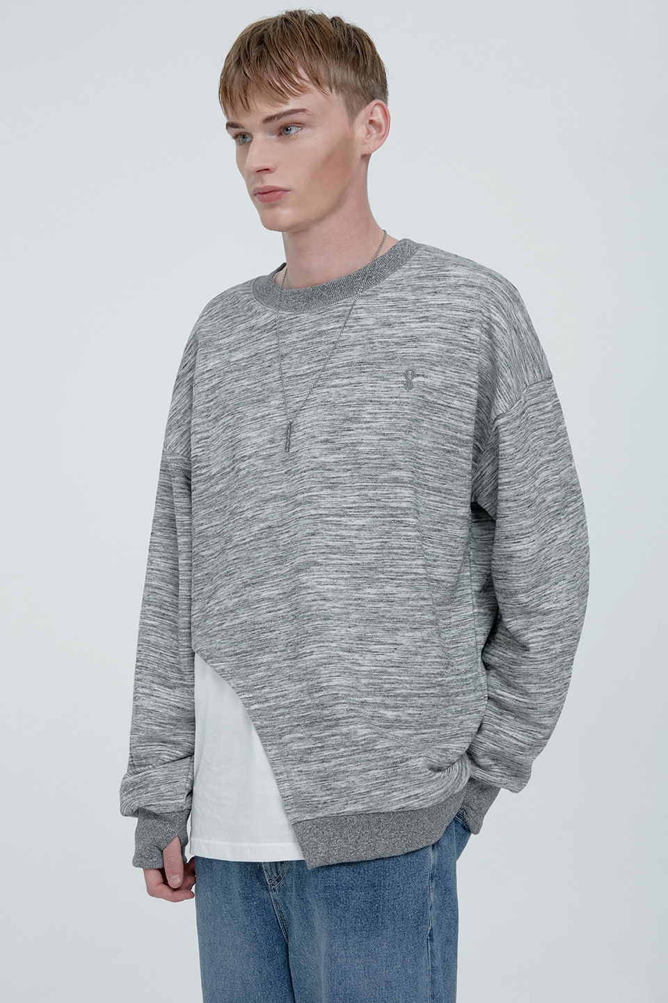 [UNISEX] VINTAGE LINE CUT LAYERED SWEATSHIRT - GREY