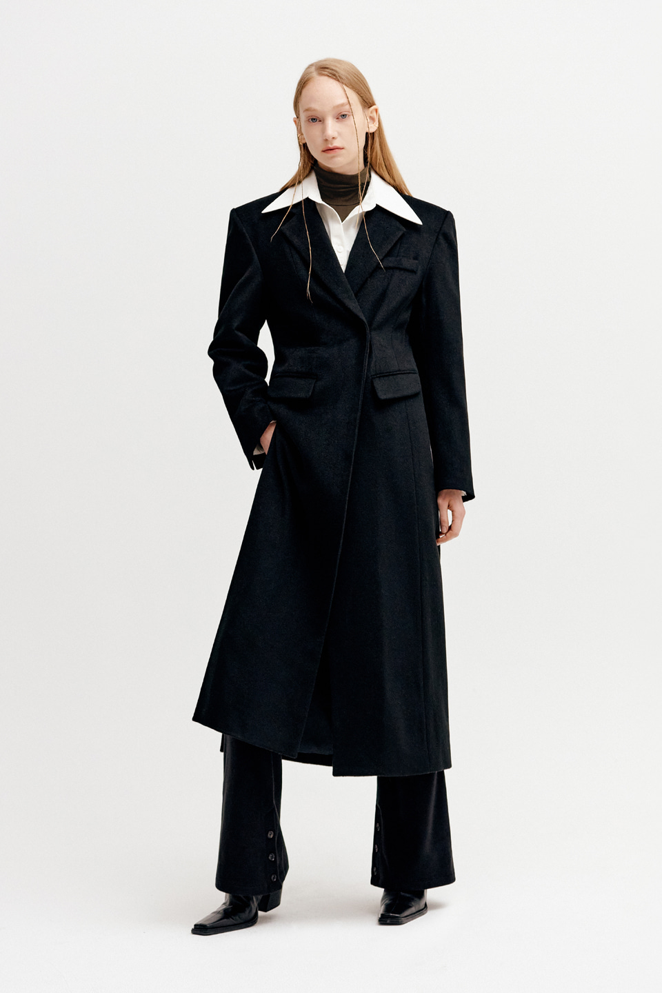 LINE CUT 2-WAY SINGLE WOOL COAT - BLACK