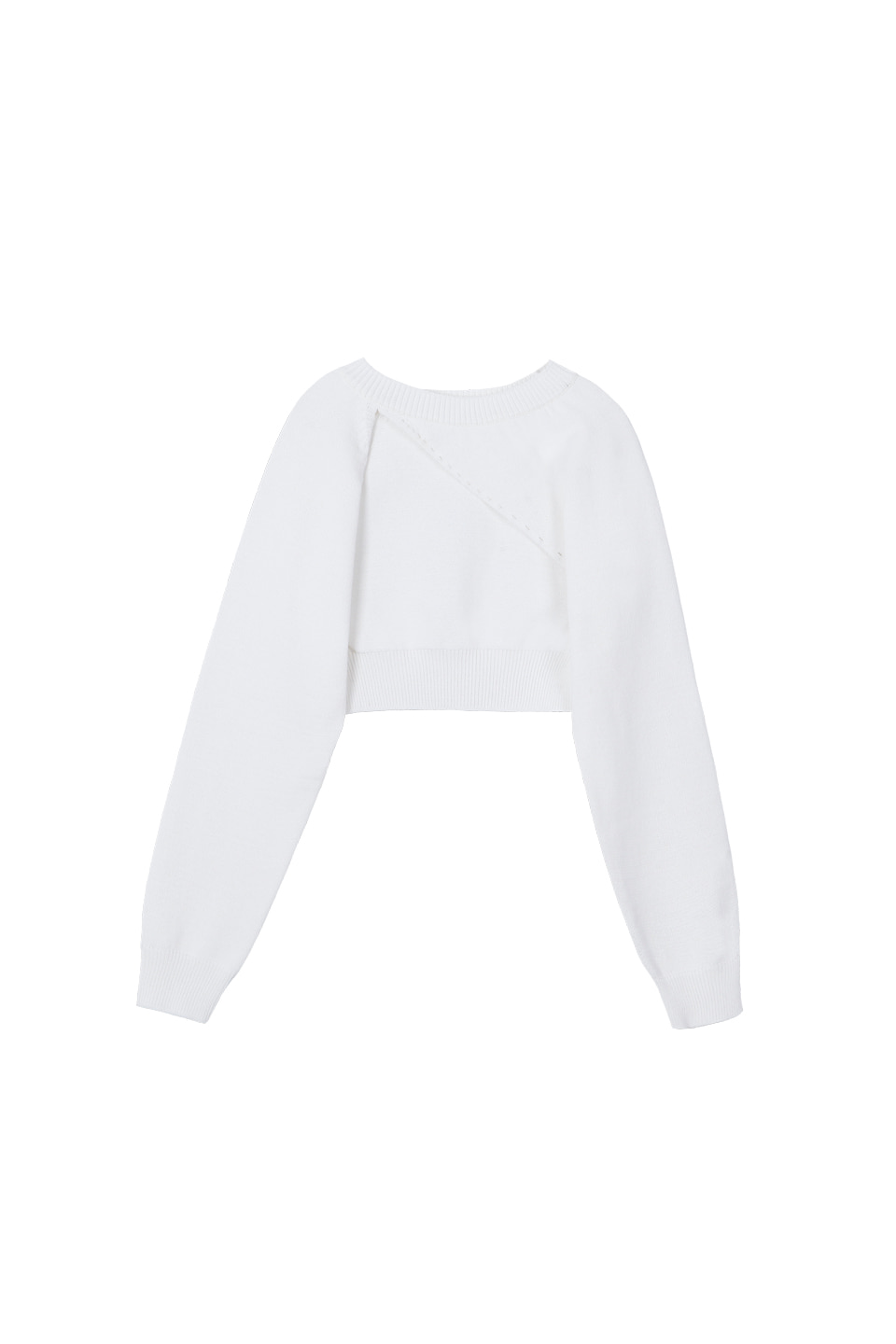(13차재입고) SS UNBALANCE BOLERO KNIT TOP - WHITE (4/28일 예약배송)