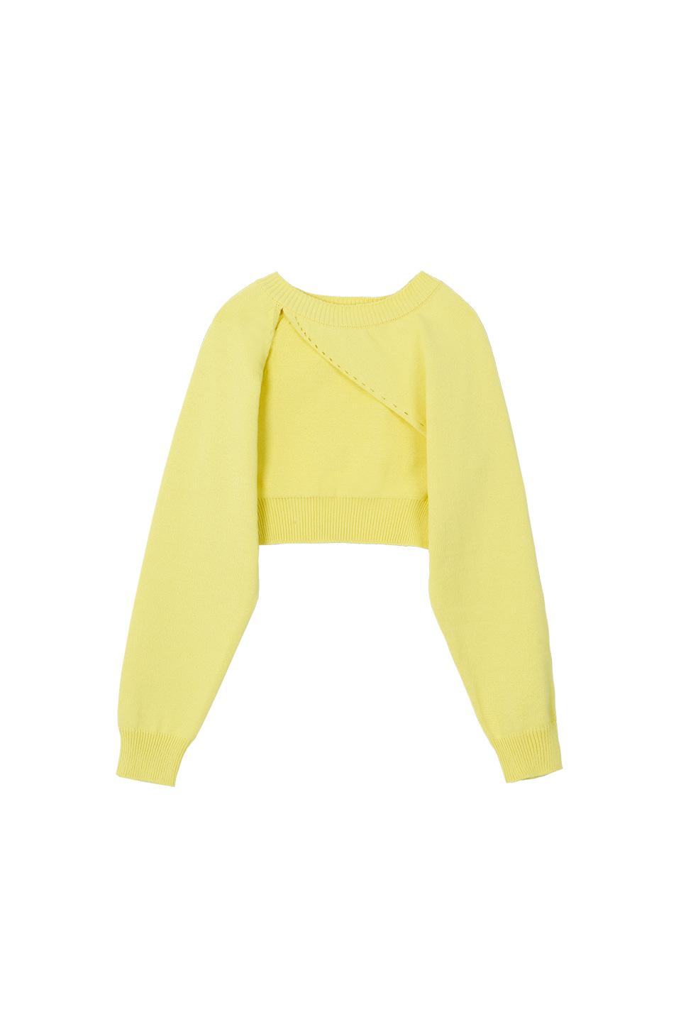 (2차재입고) SS UNBALANCE BOLERO KNIT TOP - LIGHT YELLOW (4/26일 예약배송)